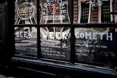 Beer Week (damonabnormal) Tags: street city windows urban reflection philadelphia window beer glass june mirror nikon neon 28mm ale streetphotography pa philly nikkor chalkboard phl f28 215 urbanite 2011 d90 afd beerweek philadelphiabeerweek