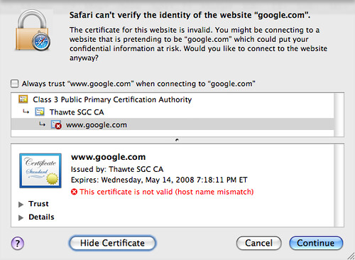 Google Secure Cert Expired