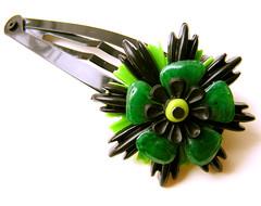 Green and Black Vintage Flowers Barrette