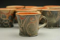 Shino Group.jpg (Carmen K) Tags: mugs ceramics handmade cups clay pottery porcelain shino reduction cone10