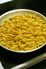 Mix pasta with garbanzo beans