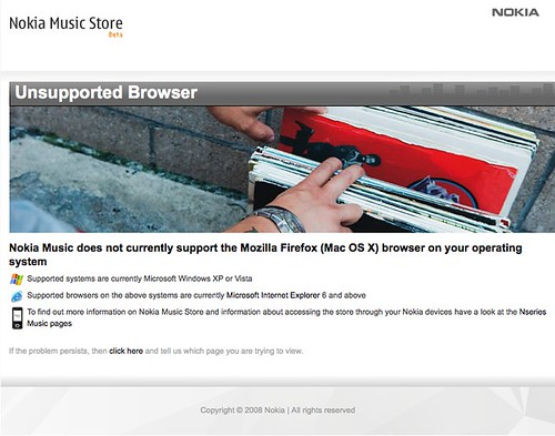 Nokia Music Store unsupported browser