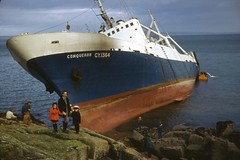 Wreck of the Conqueror, Mousehole, Cornwall (1977) (Richard and Gill) Tags: coast michael cool cornwall dad ship scan shipwreck wreck slides gill trawler mousehole conqueror kernow penwith mountsbay factoryship penzerpoint