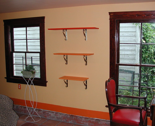 Three Orange Shelves