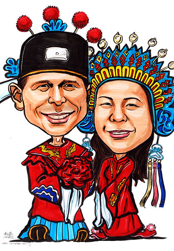 Couple caricatures Traditional Chinese Wedding gown