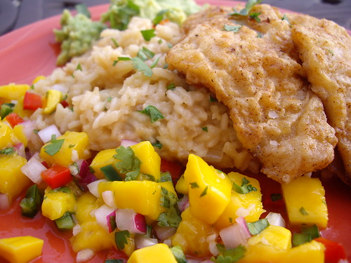 Grouper with Coconut Rice and Mango Salsa