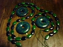 azurite-malachite donuts, malachite and azurite accents