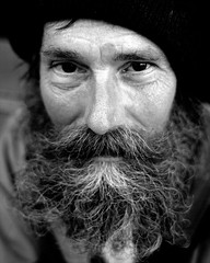 (Brian Hagy) Tags: street portrait blackandwhite bw white chicago black beard homeless il madison portfolio submit streetshot sitefaces