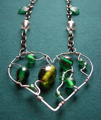 Emerald Heart - a beaded steel pendant on thrifted chain