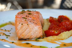 Slow-Roasted Salmon Confit with Smoked Tomatoes and Parsnip Puree