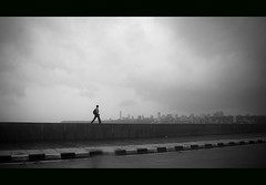 Walk Alone in Marine Drive | Mumbai (@k@sh) Tags: canon 350d drive marine solitude alone walk august scout read bombay mumbai 2008 akash thepca explored xplore aplusphoto blackwhirte flickrlovers pcaroad pptadka20080818 pcasolitude ppfeb09