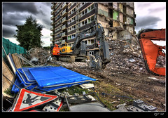Demolition (rjt208) Tags: road uk greatbritain blue england sky building tree men tower sign clouds work canon eos site 60s angle britain bricks wide sigma demolition flats butts fencing blocks 1960s mm 1020 derelict soe hdr westmidlands digger rubble armoury walsall nibbler tonemapped 400d mywinners abigfave anawesomeshot ultimateshot descruction rjt rjt208