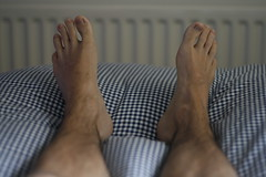 Day 113/365 Self Portrait (brianapa) Tags: portrait selfportrait male feet me self myself foot bed toes day toe dof legs brian leg right days 365 left calf day113 113 365days 365day brianapa