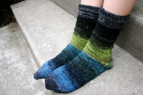 Toe-Up socks in Noro Silk Garden Sock Yarn