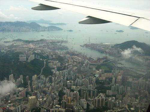Flying past Hong Kong