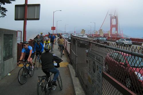 San Francisco Cyclists Celebrate Golden Gate Bridge Bike Lane 1