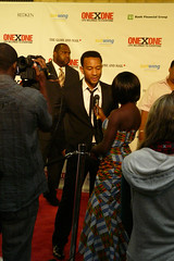 Musician John Legend getting interviewed by the Toronto Media at the ONExONE Benefit Gala held at Maple Leaf Gardens the week of TIFF '08