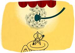 12. The dandelion is complete! (cyan blue) Tags: collage illustration ink chalk goache thegreatdandelionhunt