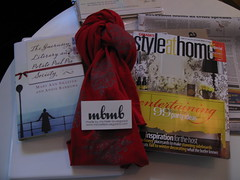 books, scarf and magazine