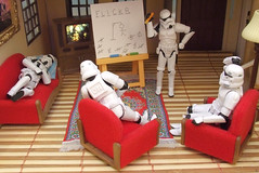 Day off from the Death Star. (waihey) Tags: house game pencil starwars flickr sleep board hangman stormtroopers picture couch sofa confused rug easel returnofthejedi headscratching