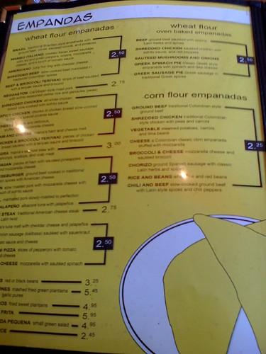 Empanada mama menu