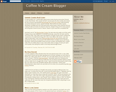 Coffee N Cream template for Blogger