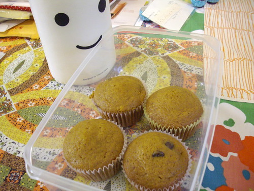 Pumpkin cupcakes with chocolate chips.