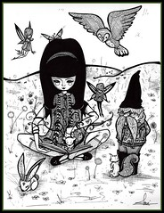 Book Friends (sherrisink) Tags: art fairytale ink gnome drawing sherri dupree eisley rapidographs