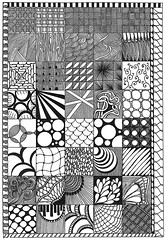 Zentangle Sampler (tropicalart77) Tags: blackandwhite texture sketch pattern drawing line doodle penandink zentangle