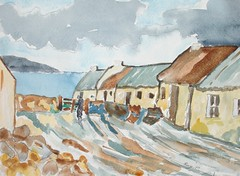 Cottages, Achill, irlanda oeste.