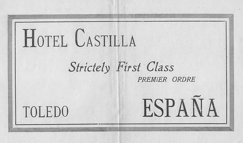 Publicidad del Hotel Castilla de Toledo (1927)