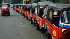 Long line of bajaj, Jakarta (Tempo Dulu) Tags: urban indonesia wideangle jakarta bajaj blokm