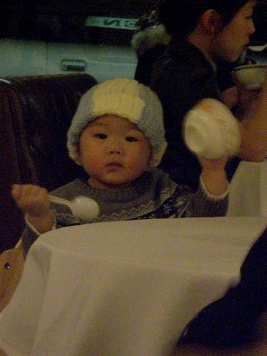 staring chinese baby boy