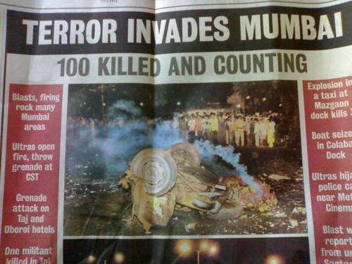 newspaper footage after the mumbai attack