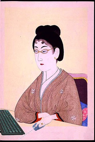 Portrait of a Beauty Blogging, after Chikanobu Toyohara