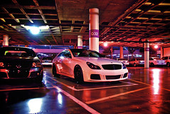 Colors (j.hietter) Tags: auto show california roof white black car mercedes benz la garage parking wheels center 2008 motorsports staples platinum motorsport cls brabus