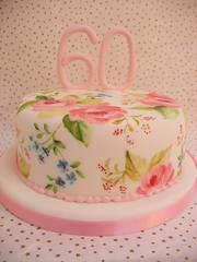 Painted 60th Birthday Cake (neviepiecakes) Tags: pink flowers roses lemon birthdaycake paintedcake 60thbirthdaycake