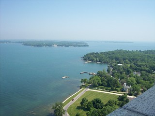 View of bay/island from top of monument