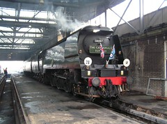 Southall West London 8th December 2008 (loose_grip_99) Tags: railroad england london train shed engine railway trains steam special depot locomotive 2008 railways southall southernrailway mpd britishrailways tangmere greatwestern 34067 uksteam cathedralsexpress gassteam