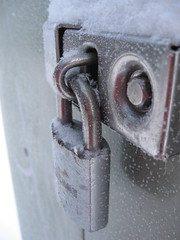 lock (Maicdlphin) Tags: snow metal canon silver frost lock powershot a590