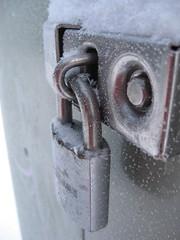 lock (Maʝicdölphin) Tags: snow metal canon silver frost lock powershot a590