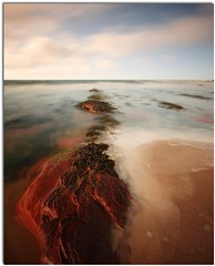 Dunbar Rocks #4 (blue fin art- 2 Million Views. Thank You!) Tags: longexposure red sea beach water clouds scotland sand rocks waves dunbar eastlothian eastbeach nd1000 tenstop