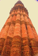Minaret of Qutbul Dein Mosque in Delhi, India. Built during the 7th century Hijri (the 13th century AD). (evamathemat) Tags: old travel india eva minaret delhi perspective minar qutab evamathemat qutbulmosque