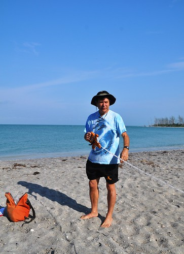 Dr. Stephen P. Leatherman Measures the Beach by Stump Pass, Fla.