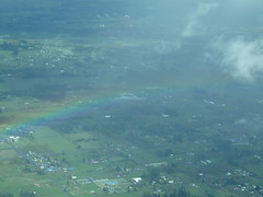 A rainbow from the air