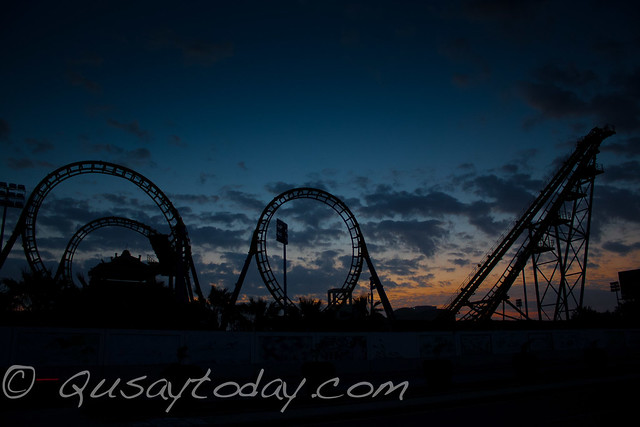 Sunrising behind a roller coaster in Jeddah Saudi Arabia