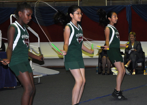 Students from Thomas A. Edison Middle Learning Center perform the dance/exercise routine they did during the recent Let's Move! national event.