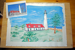 Almost Finished with the Wind Point Lighthouse Watercolor