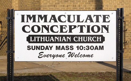Immaculate Conception (Lithuanian) Roman Catholic Church, in East Saint Louis, Illinois, USA - sign