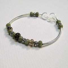 Happiness Bracelet (Remember My Angel) Tags: brown green colorado handmade jewelry jade bracelet milehigh smokeyquartz sterlingsilver nephrite bluelilydesigns